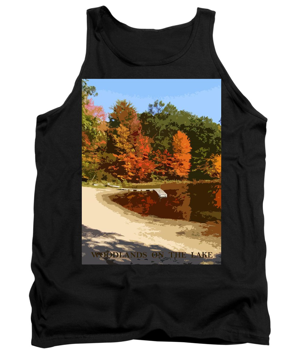 Autumn Tank Top featuring the photograph Woodlands On The Lake by Michelle Calkins