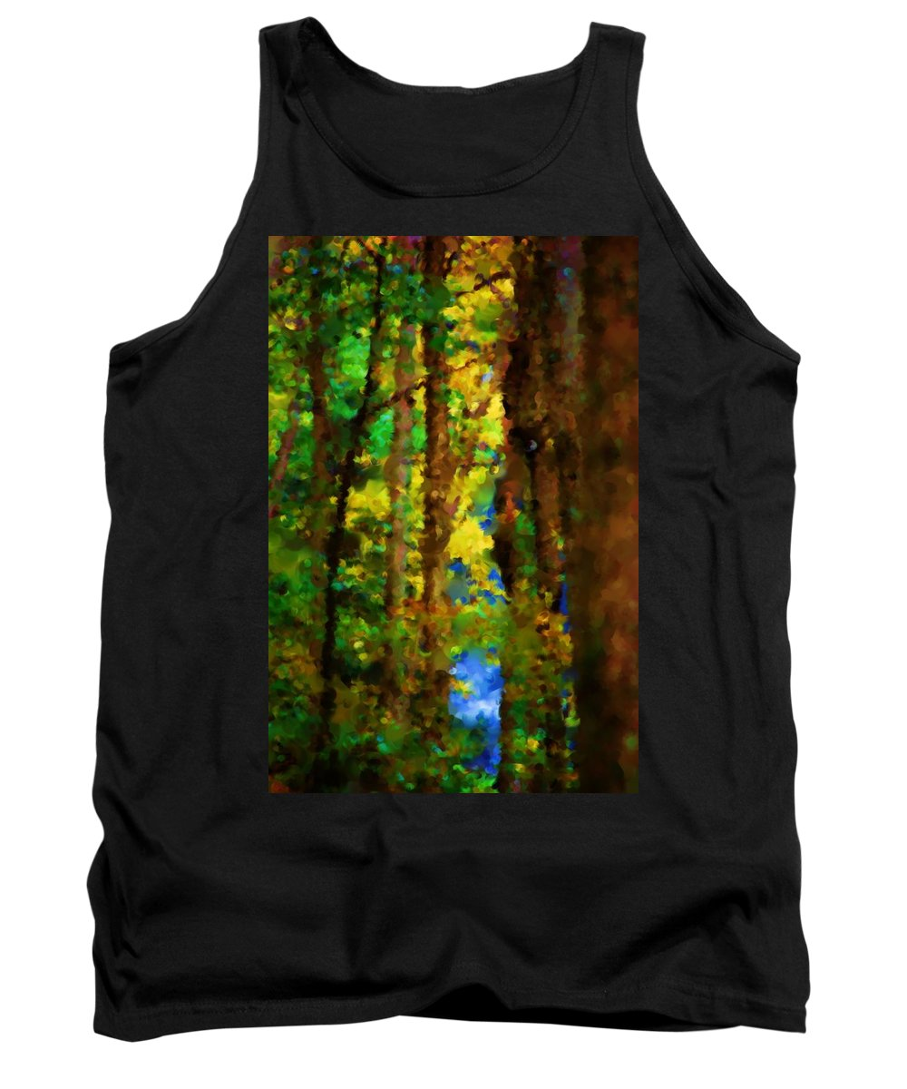 Digital Photograph Tank Top featuring the photograph Woods Approach To Lake by David Lane