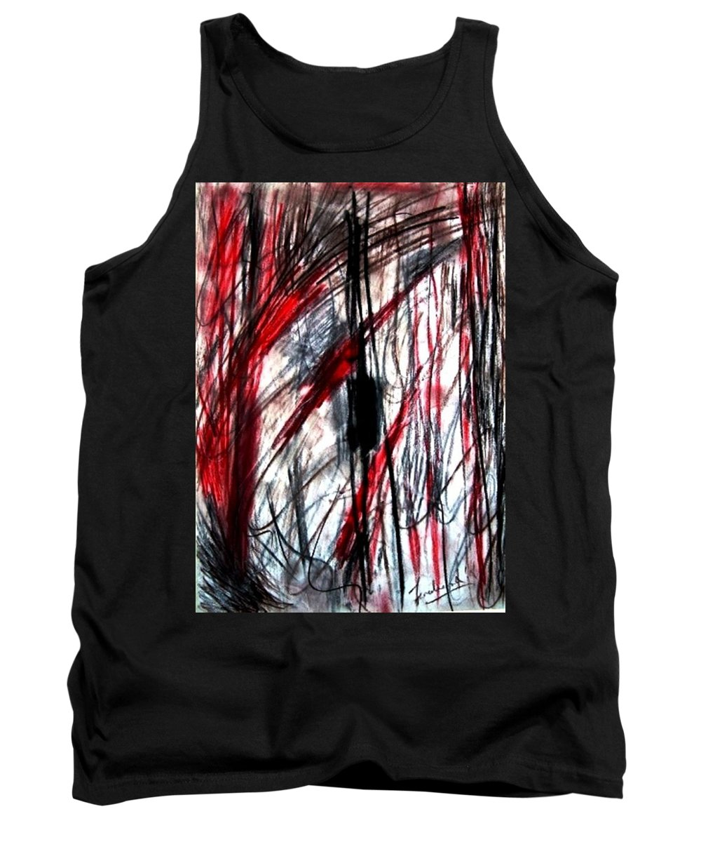 Abstract Tank Top featuring the drawing Words by Fareeha Khawaja