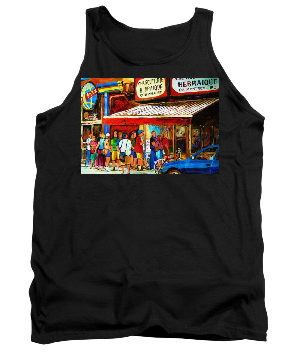 Montreal Streetscenes Tank Top featuring the painting Worth The Wait by Carole Spandau
