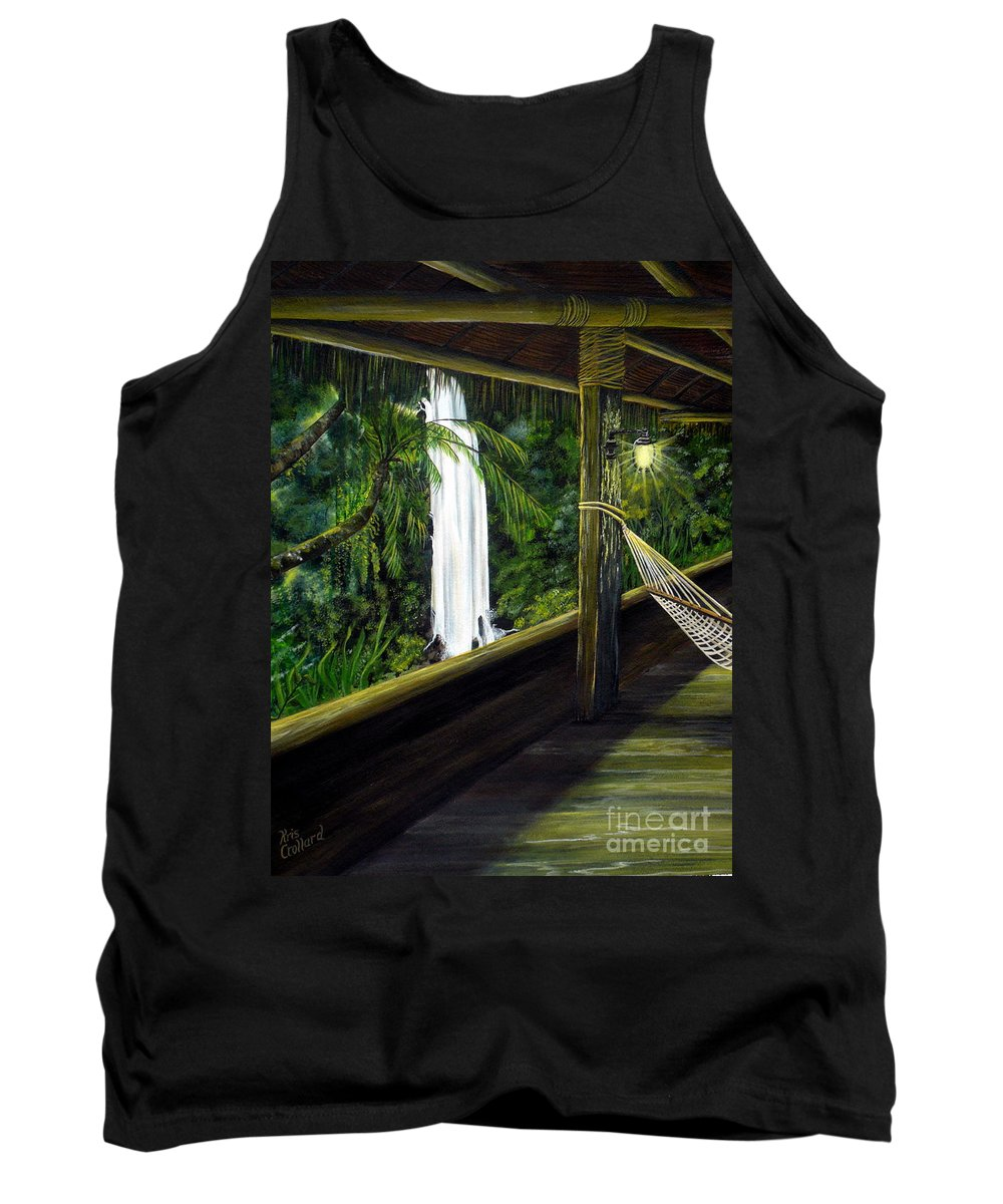 Waterfall Tank Top featuring the painting Wrapped In Paradise by Kris Crollard