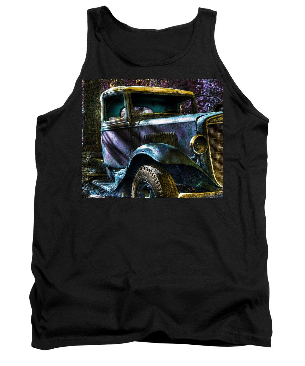 Digital Fantasy Tank Top featuring the photograph Wrecking Yard Fantasy by Lee Santa