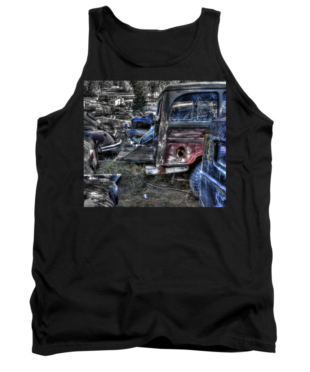 Automotive Tank Top featuring the photograph Wrecking Yard Study 13 by Lee Santa