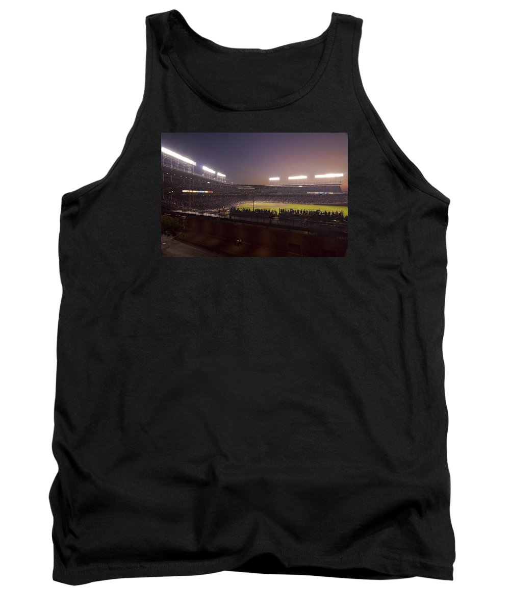 Cubs Tank Top featuring the photograph Wrigley Field At Dusk 2 by Sven Brogren