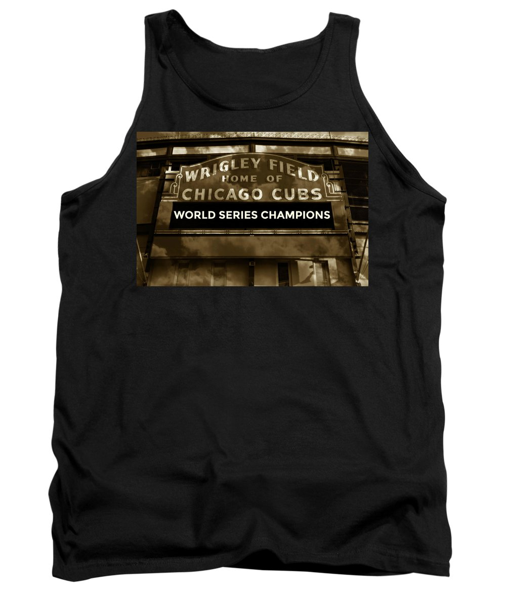 Chicago Cubs Tank Top featuring the photograph Wrigley Field Sign - Vintage by Stephen Stookey
