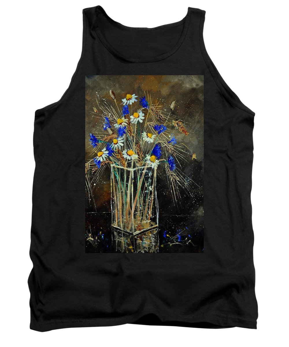 Flowers Tank Top featuring the painting Xav's Bunch by Pol Ledent