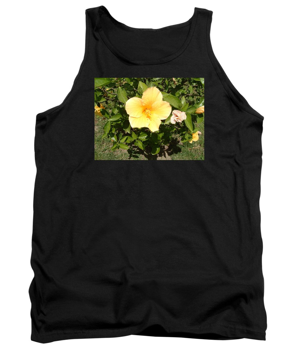 Flower Tank Top featuring the photograph Yello Hibiscus by Laurence Northcote
