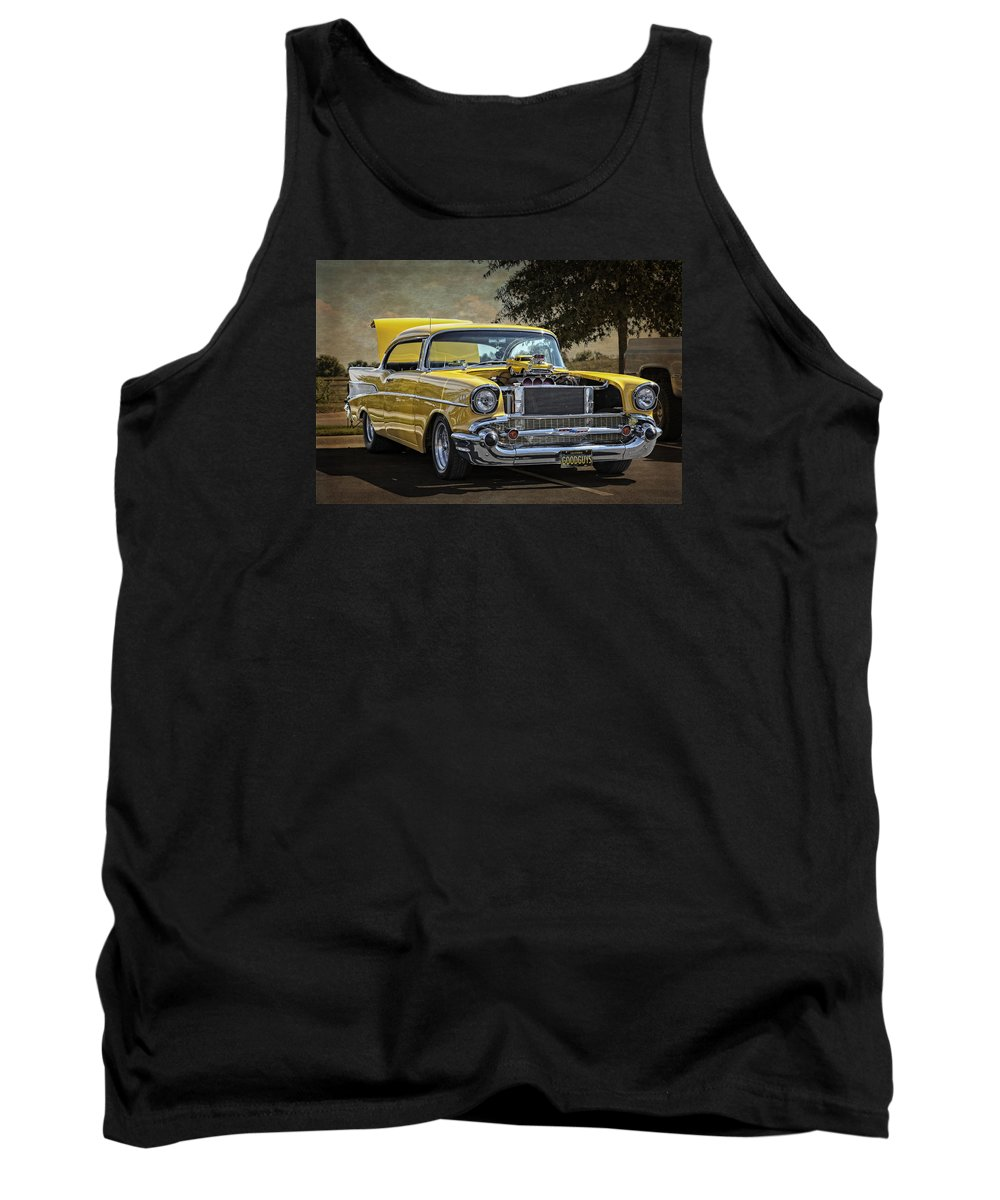 Chevy Tank Top featuring the photograph Yellow 57 by Tony Colvin