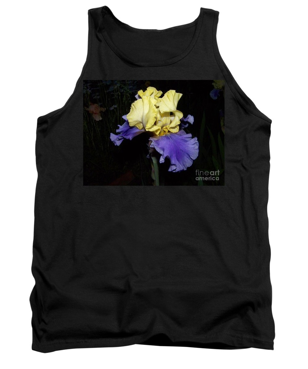 Iris Tank Top featuring the photograph Yellow And Blue Iris by Kathy McClure