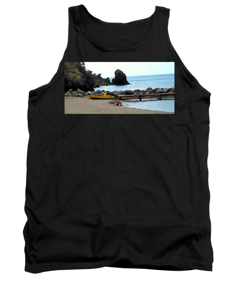 Beach Tank Top featuring the photograph Yellow Boat On The Beach by Ian MacDonald