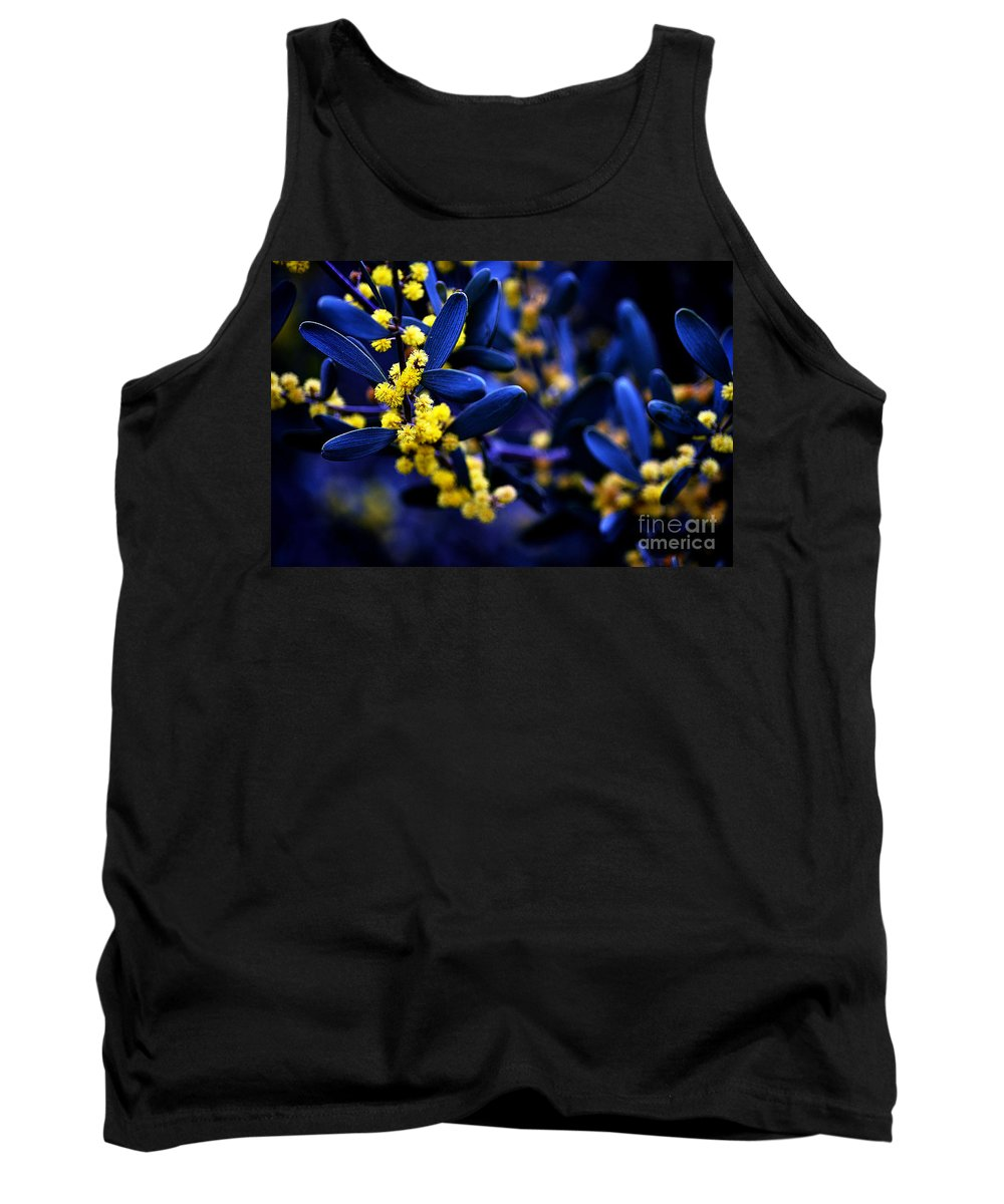 Clay Tank Top featuring the photograph Yellow Bursts In Blue Field by Clayton Bruster