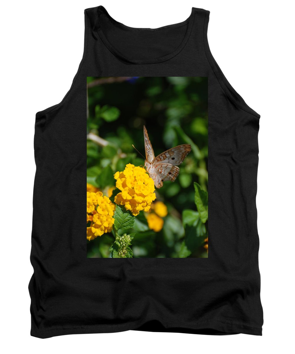 Butterfly Tank Top featuring the photograph Yellow Flower Brown Fly by Rob Hans