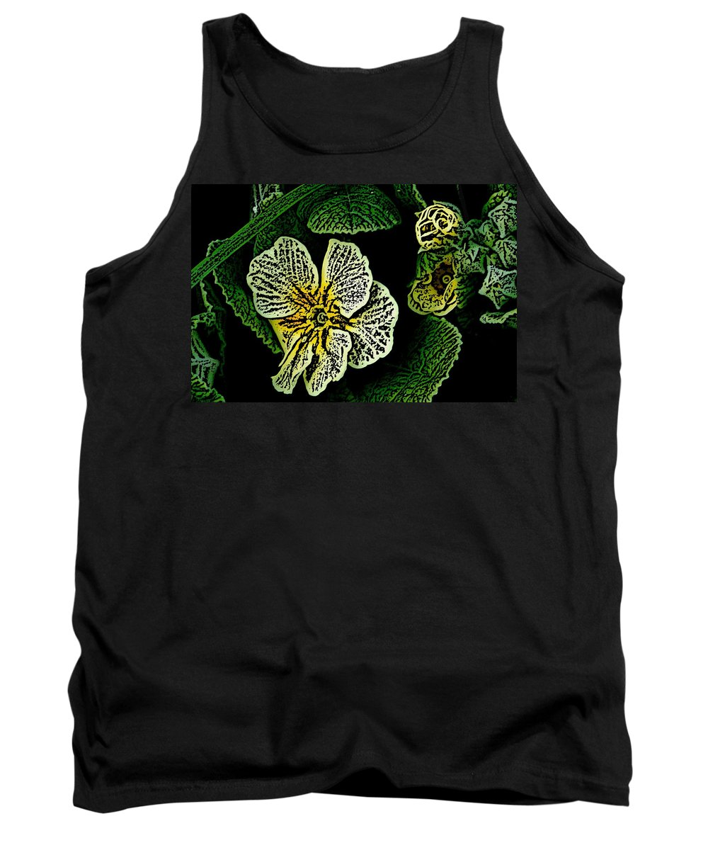Floral Tank Top featuring the digital art Yellow Flower Woodcut by David Lane
