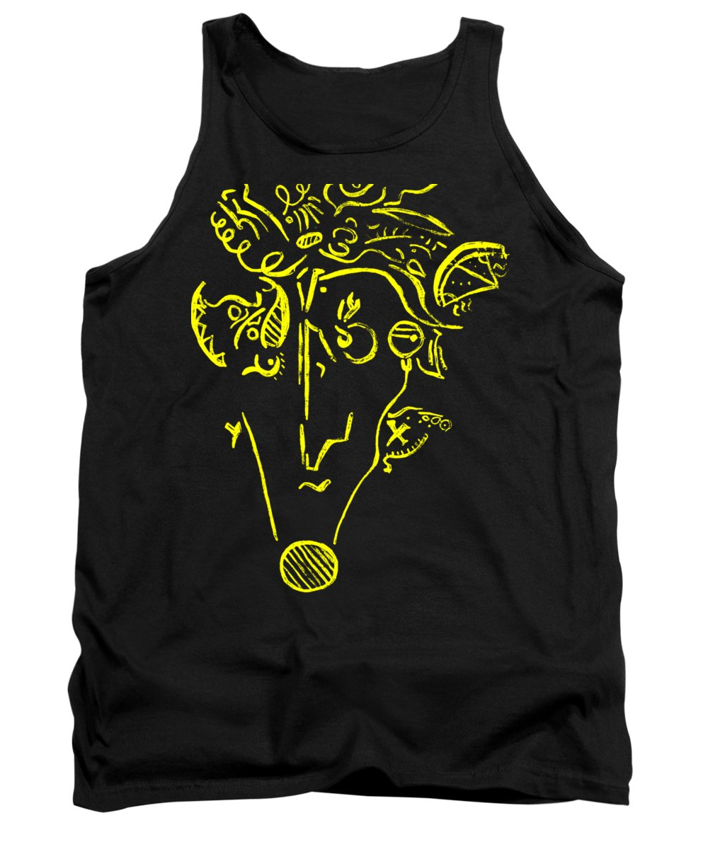 Yellow Man Abstract Tank Top featuring the painting Yellow by Iveta Olivova