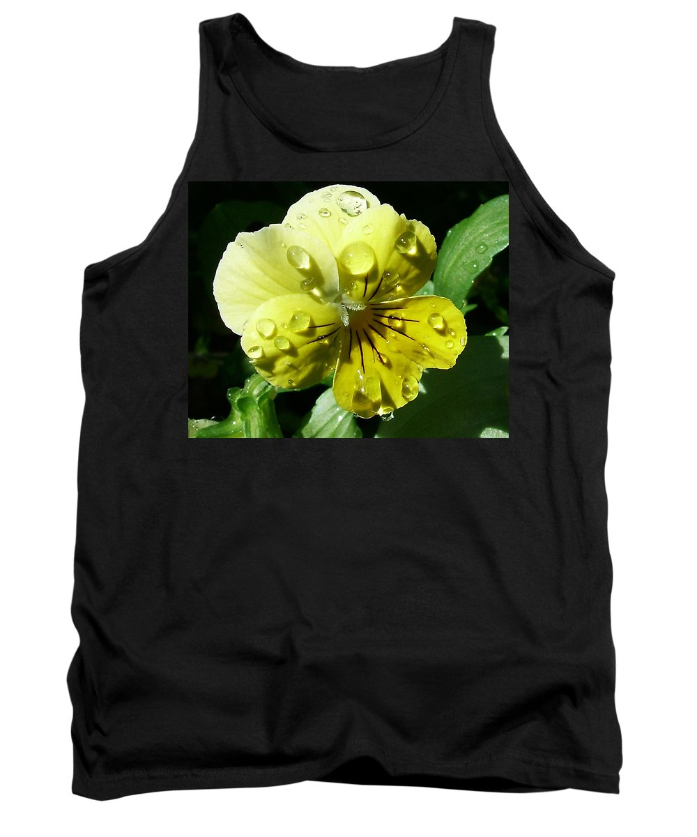 Flower Tank Top featuring the photograph Yellow Pansy by Anthony Jones