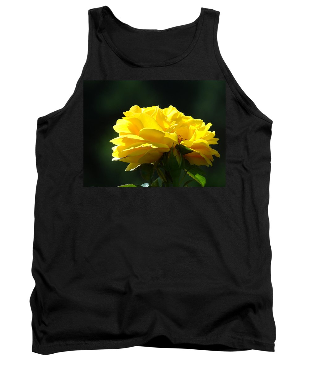 Rose Tank Top featuring the photograph Yellow Rose Sunlit Rose Garden Landscape Art Baslee Troutman by Baslee Troutman