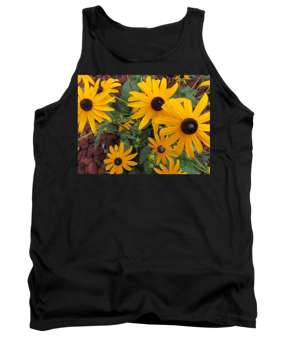 Coneflower Tank Top featuring the photograph Yellow Stant Out by Mike Flake