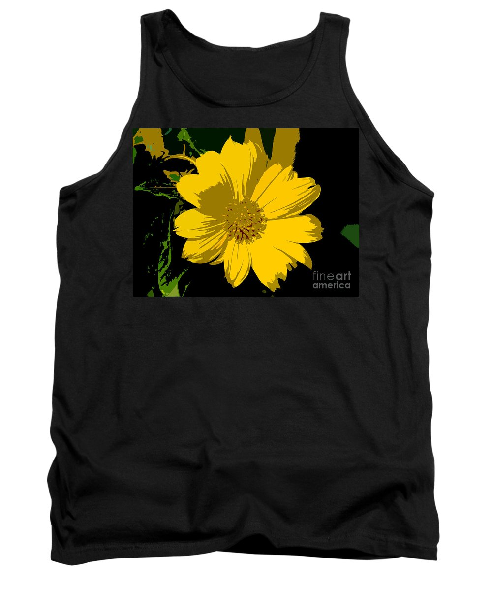 Flower Tank Top featuring the photograph Yellow Sunshine Work Number 8 by David Lee Thompson