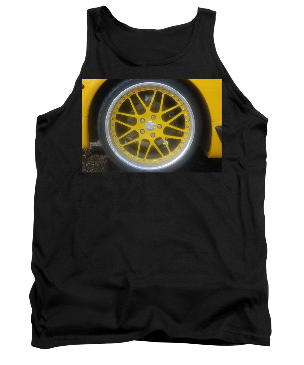 Corvette Tank Top featuring the photograph Yellow Vette Wheel by Rob Hans