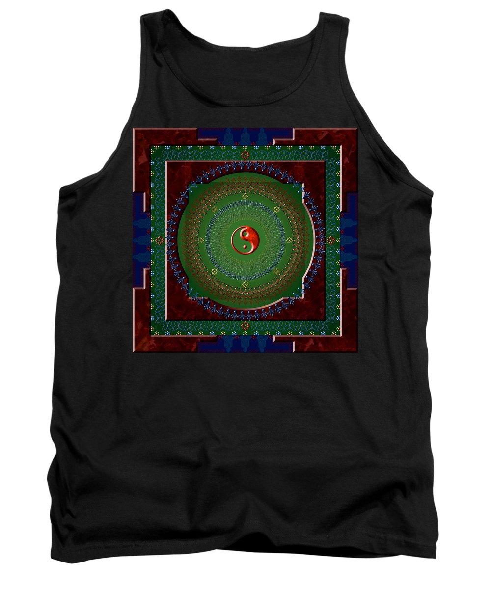 Mandala Tank Top featuring the digital art Yin Yang by Stephen Lucas