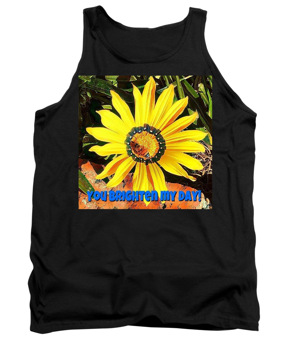 Daisy Tank Top featuring the photograph You Brighten My Day by Christine McCole