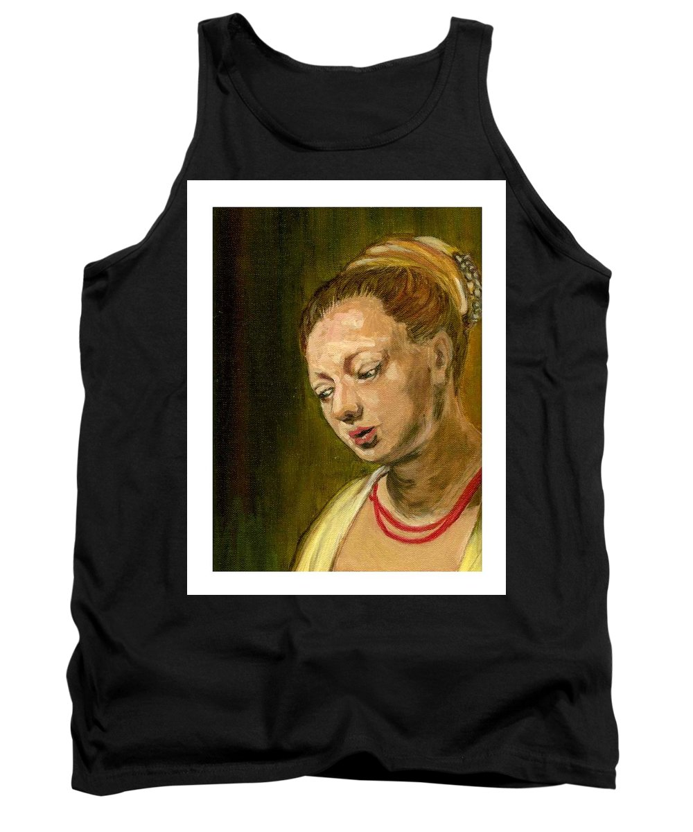 Rembrandt's Painting Tank Top featuring the painting Young Woman by Asha Sudhaker Shenoy