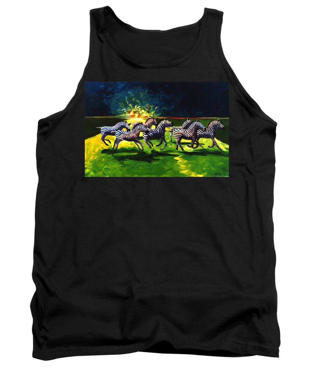 Modern Tank Top featuring the painting Zebz by Lance Headlee