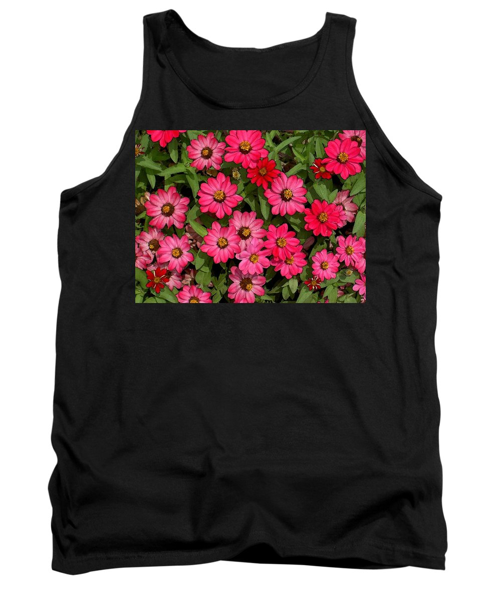 Zinnia Tank Top featuring the photograph Zinnia Riot Watercolor by Carolyn Jacob