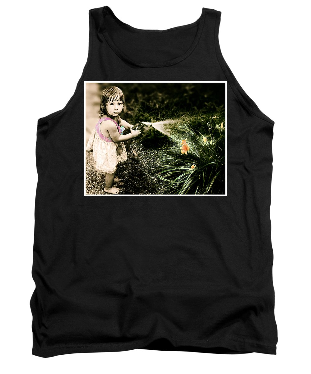 Children Tank Top featuring the photograph Zoe Waters The Flowers by Karen W Meyer