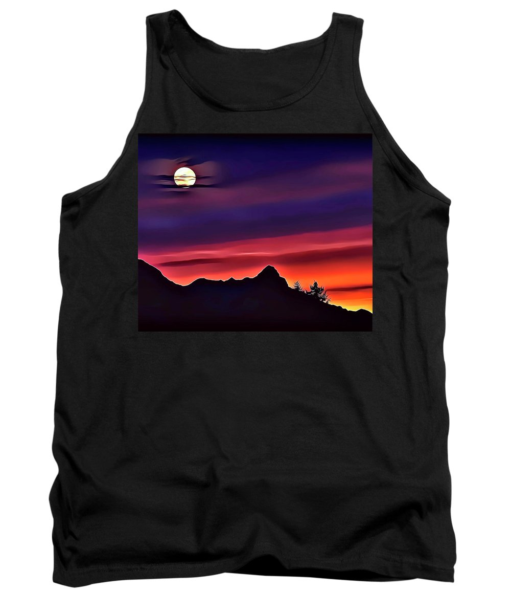 Mountains Tank Top featuring the digital art 1 Moon Mountain by Russ Carts