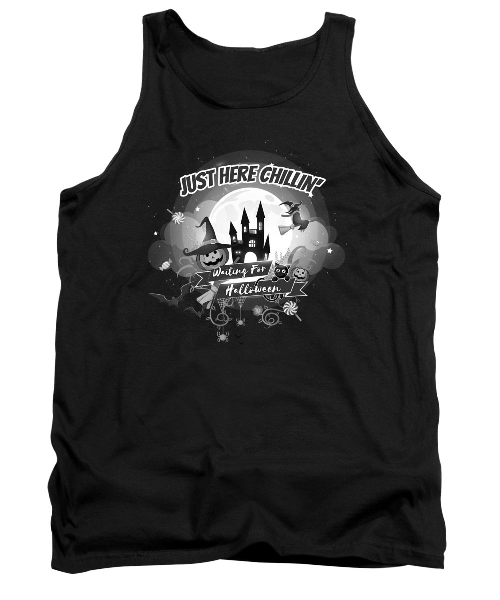 Halloween-costume Tank Top featuring the digital art tshirt Just Here Chillin grayscale by Kaylin Watchorn