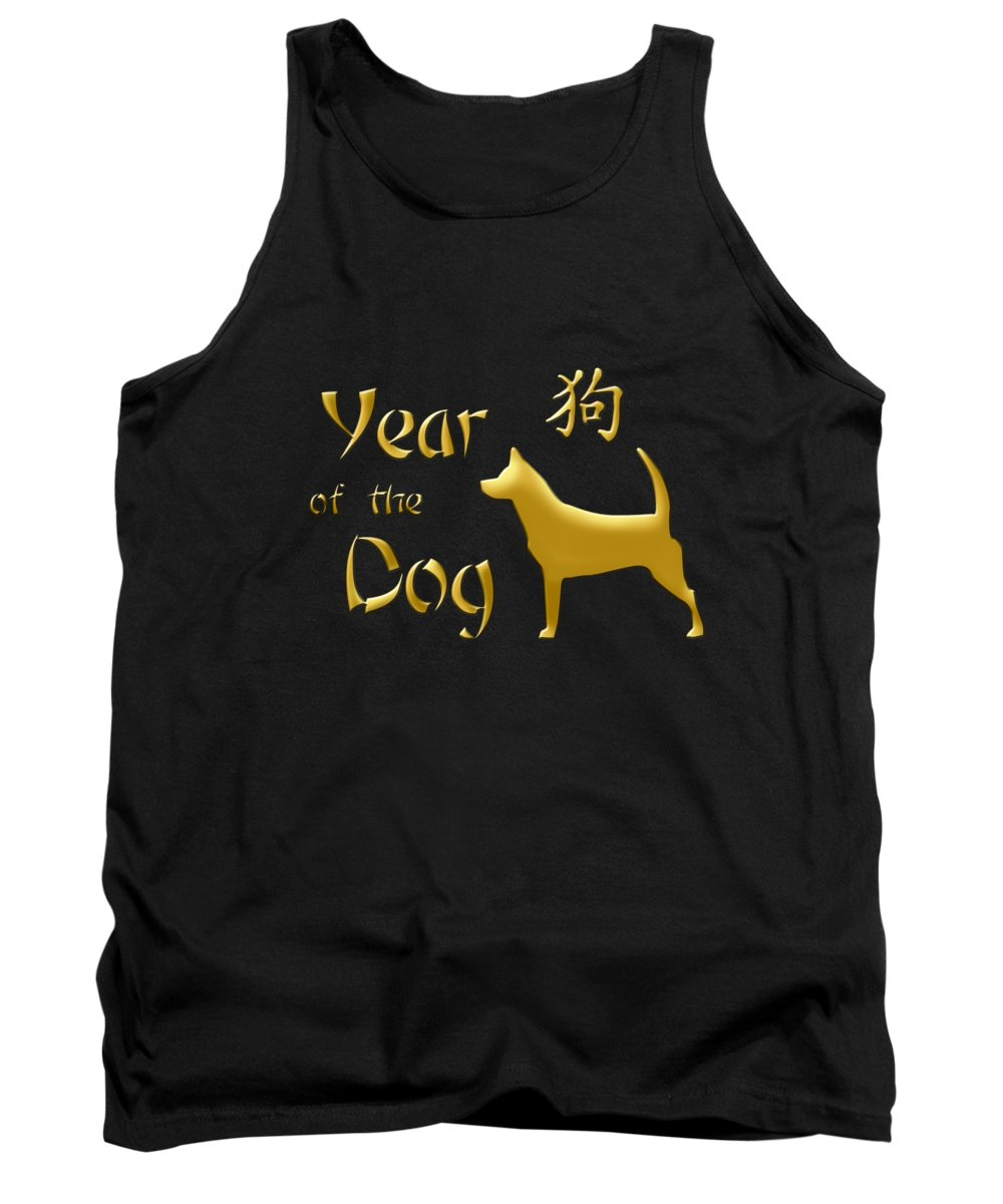 Gold Tank Top featuring the digital art Year Of The Dog - Chinese New Year by Valentina Hramov