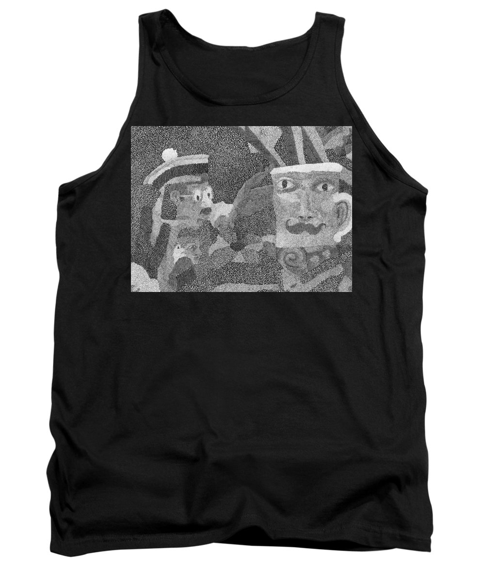 Hand Drawn Tank Top featuring the drawing Detail From Sgt. Pepper's Mug Head by Robert Joseph Moreau