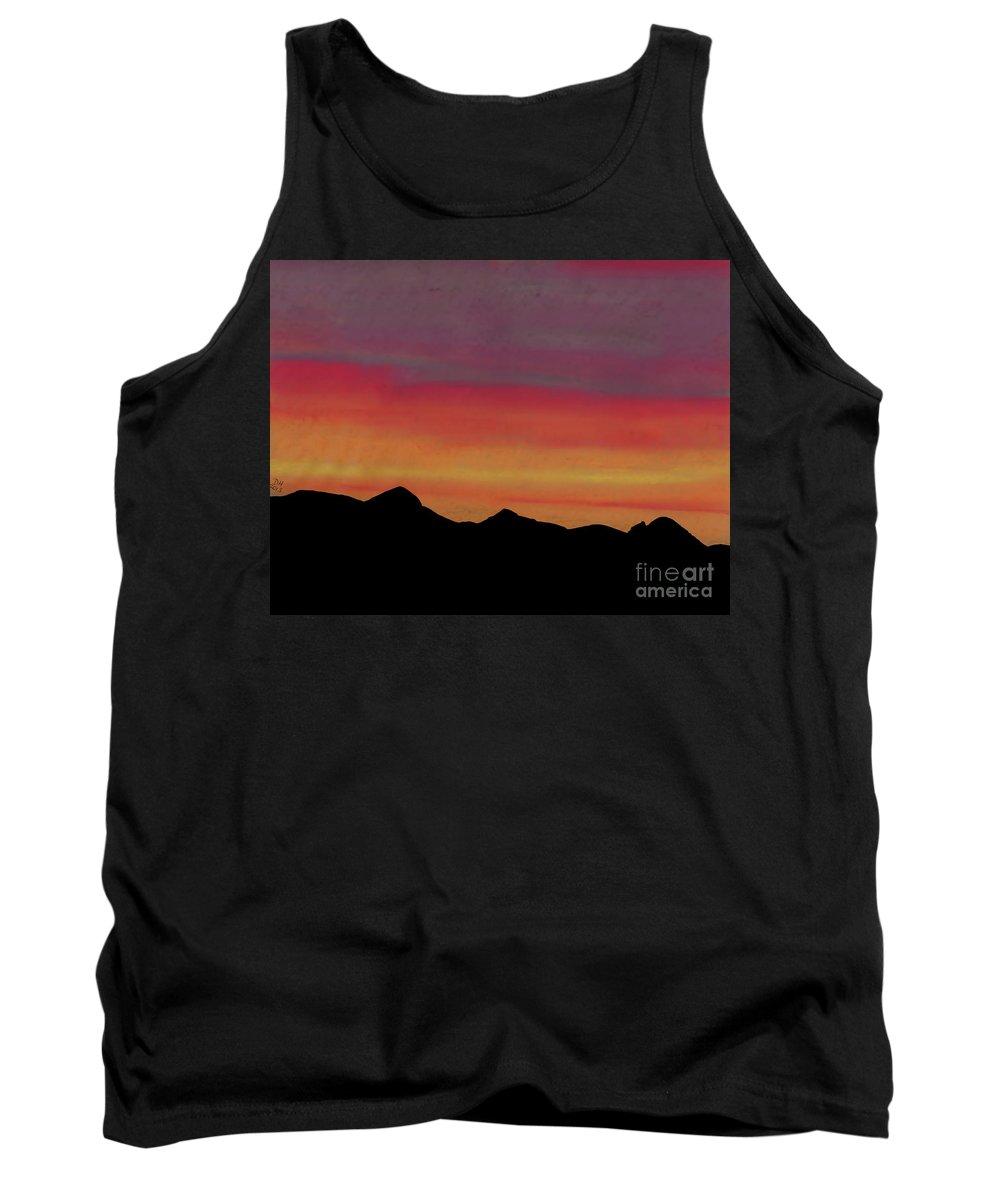 Alaska Tank Top featuring the drawing Alaska Sunset Beauty by D Hackett