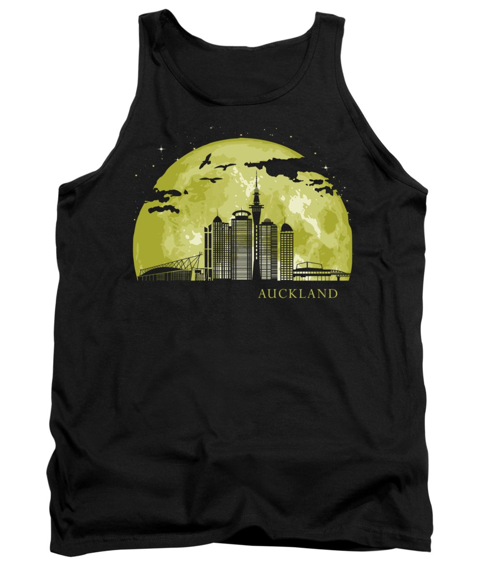 Zealand Tank Top featuring the digital art AUCKLAND Moon Light Night Stars Skyline by Filip Schpindel