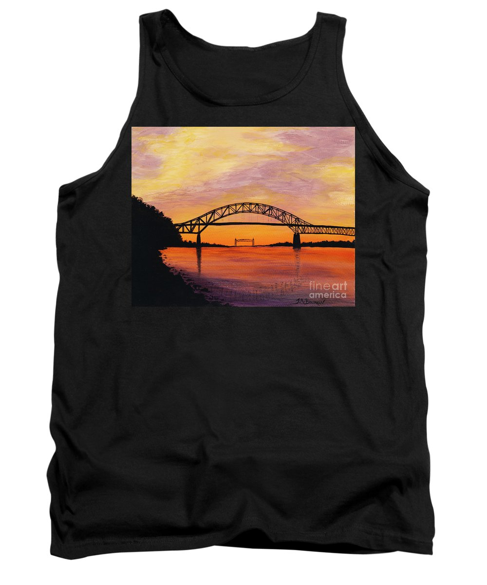 Yellow Tank Top featuring the painting Bourne Bridge Sunset by Tracy Bowman