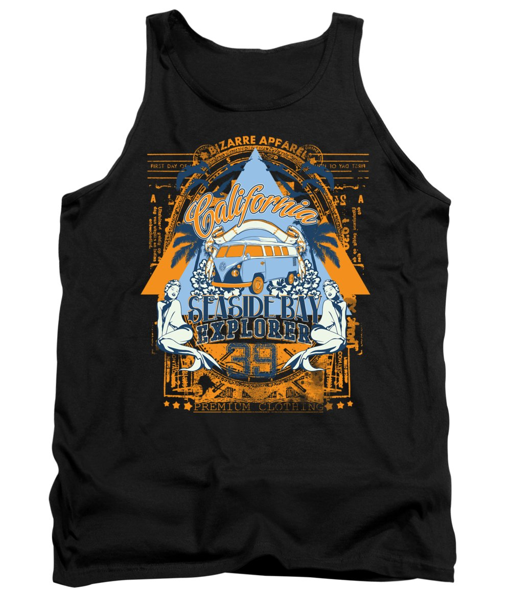 Beach Tank Top featuring the digital art California Seaside Bay Explorer by Passion Loft