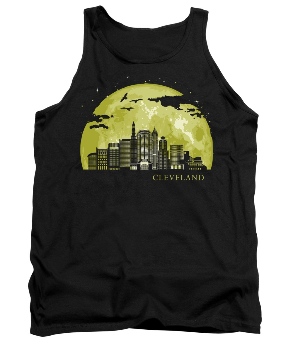 Cleveland Tank Top featuring the digital art CLEVELAND Moon Light Night Stars Skyline by Filip Schpindel