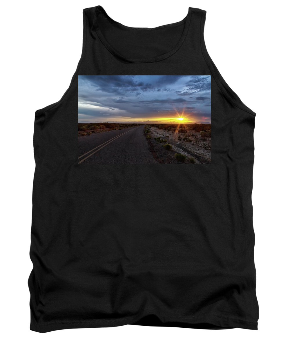 Sunset Tank Top featuring the photograph Cloudy Sunset by Nancy Gregory