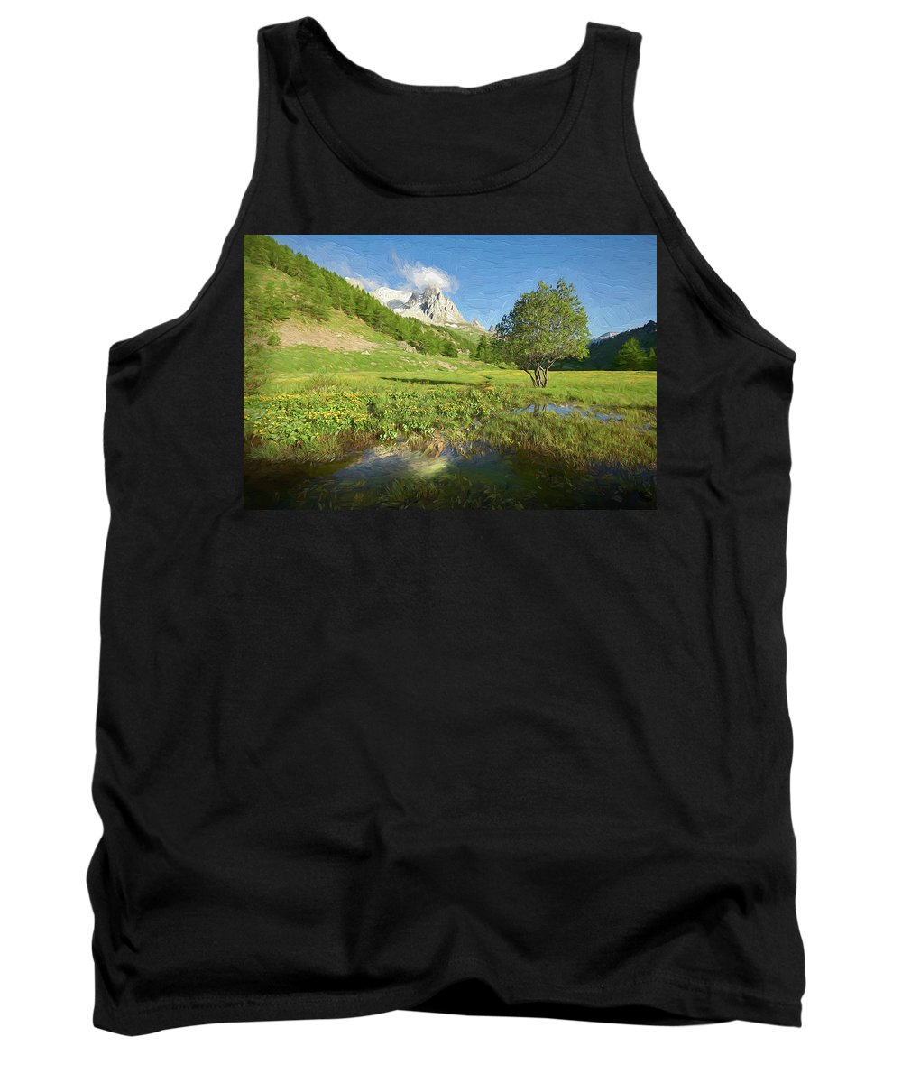 Courmayeur Tank Top featuring the digital art French Alps Valley II by Jon Glaser
