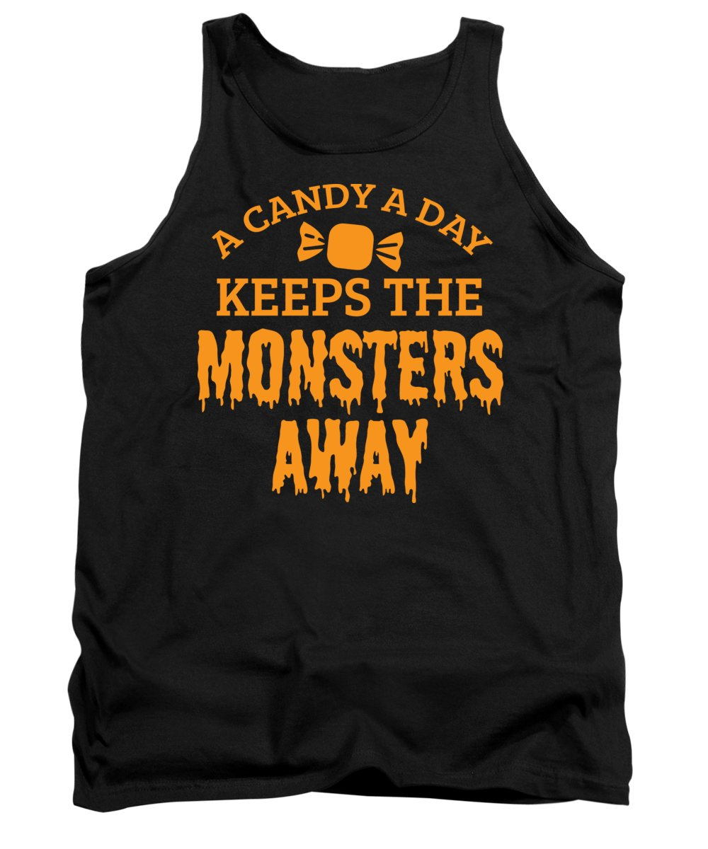 Halloween-costume Tank Top featuring the digital art Halloween Shirt Candy A Day Keeps Monsters Away Gift Tee by Haselshirt