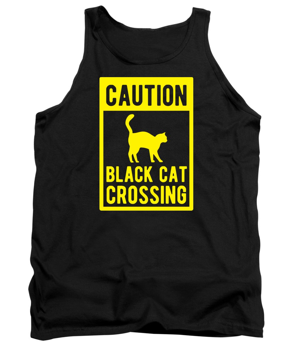 Halloween-costume Tank Top featuring the digital art Halloween Shirt Caution Black Cat Crossing Gift Tee by Haselshirt