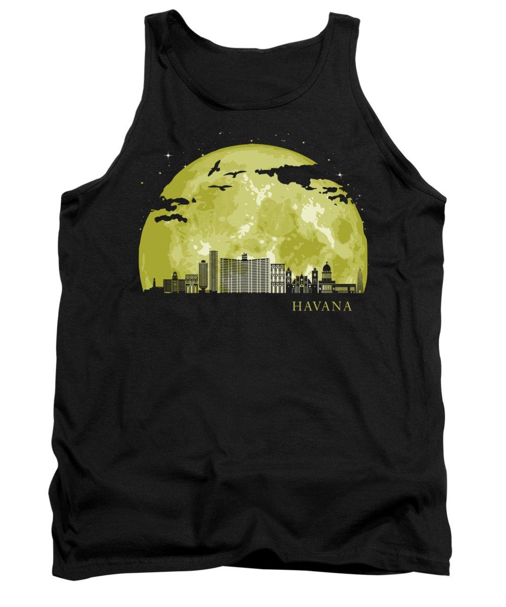 Cuba Tank Top featuring the digital art HAVANA Moon Light Night Stars Skyline by Filip Schpindel
