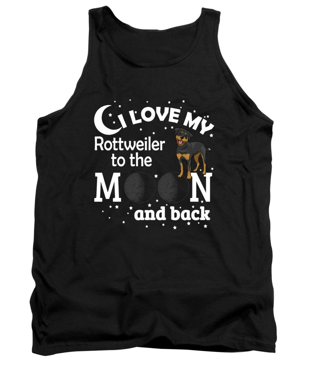 Christmas-gifts-for-dogs Tank Top featuring the digital art I Love My Rottweiler To The Moon by Passion Loft