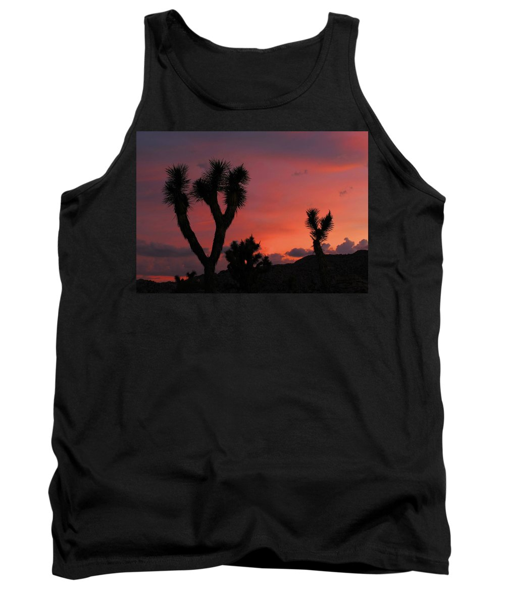 Joshua Tank Top featuring the photograph Joshua Trees Silhouetted Against A Red Sky by Angel La Canfora