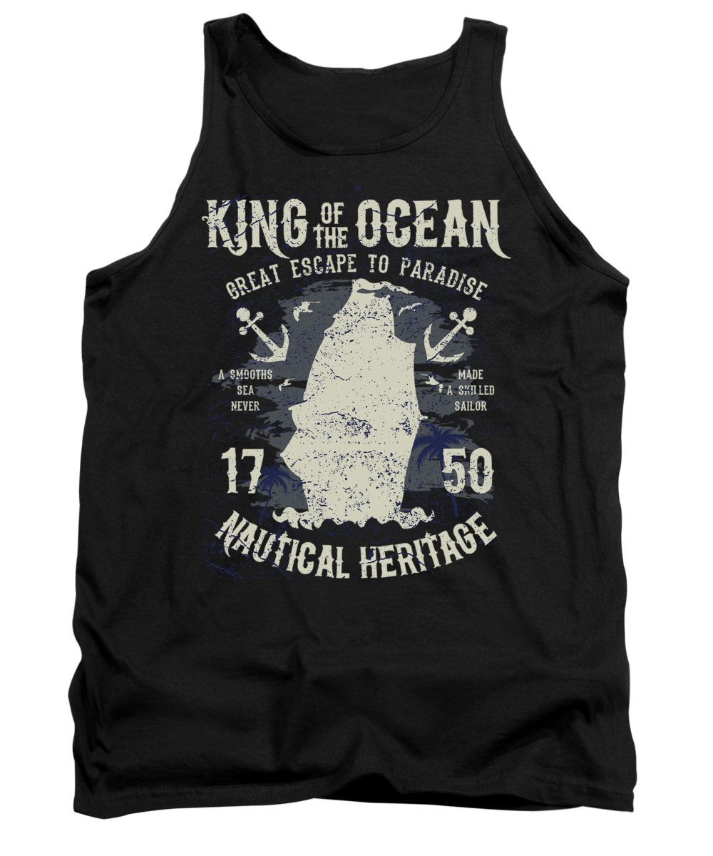 Cruise-vacation Tank Top featuring the digital art King Of The Ocean by Passion Loft