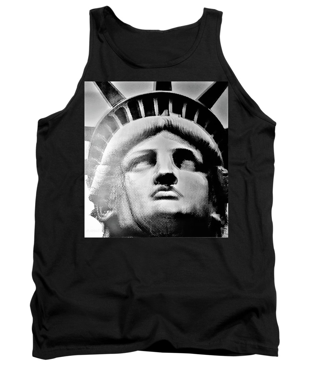 Statue Of Liberty Tank Top featuring the photograph Lady Liberty In Black And White1 by Rob Hans