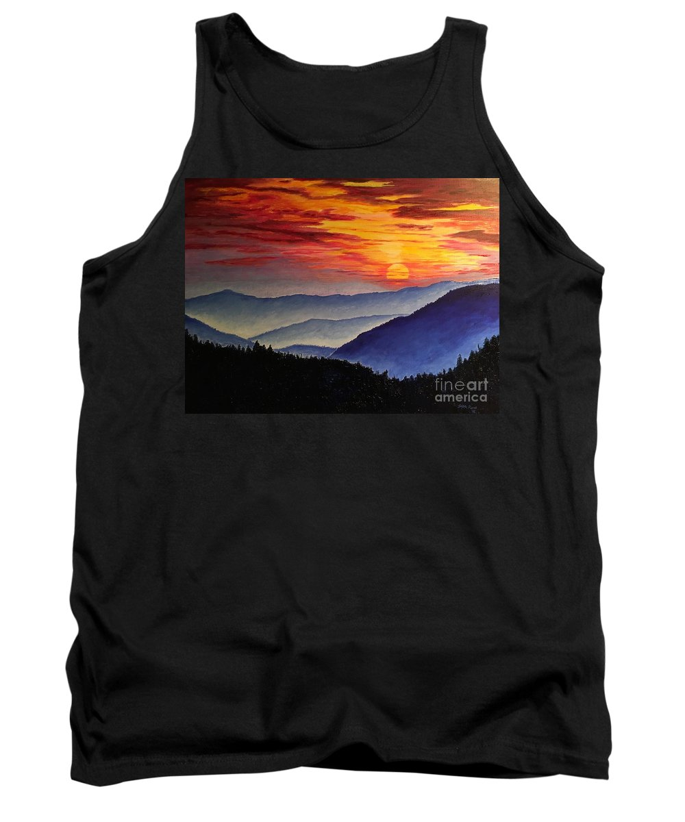 Sunset Tank Top featuring the painting Laurens Sunset And Mountains by Lisa Rose Musselwhite