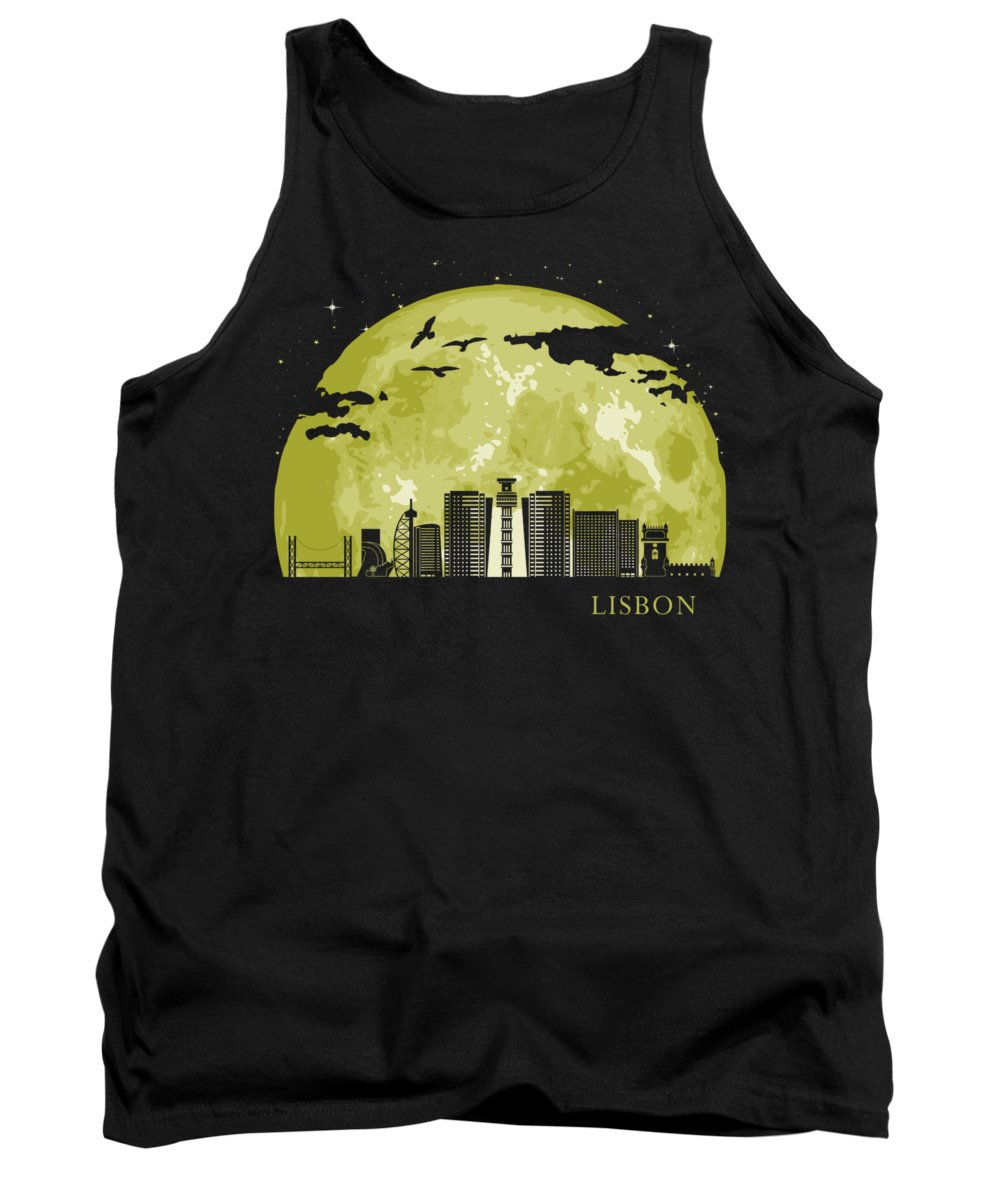 Skyline Tank Top featuring the digital art LISBON Moon Light Night Stars Skyline by Filip Schpindel