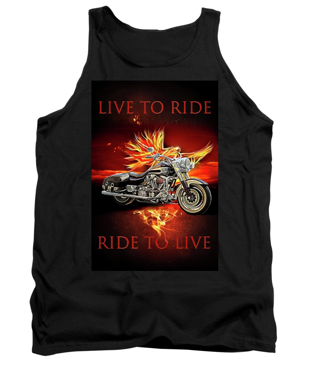 Indian Tank Top featuring the digital art Live To Ride, Ride To Live In Shiny Chrome by Debra and Dave Vanderlaan
